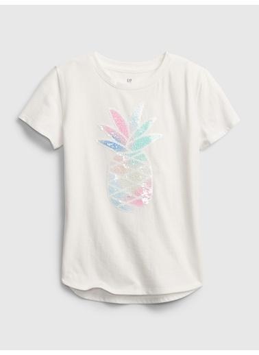 Gap Değişen Pullu Kısa Kollu T-Shirt Beyaz